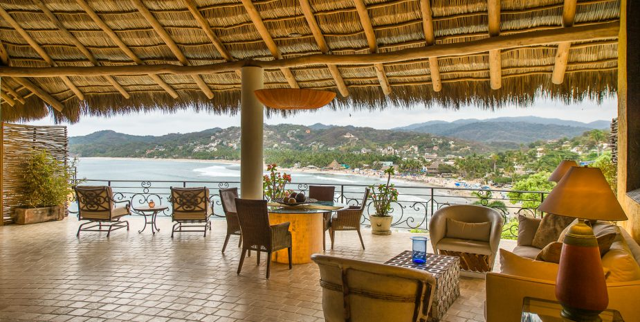 Large ocean view outdoor living area at Villa Besito Dulce at Amor Boutique Hotel in Sayulita Mexico