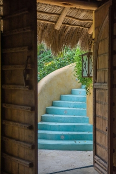 amor-boutique-hotel-besito-dulce-wood-door-blue-stairs